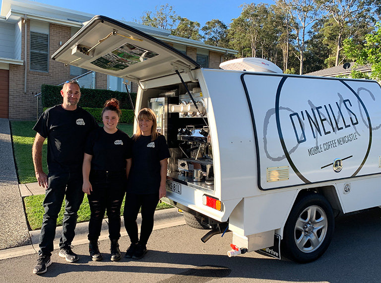 O'Neills family with their mobile coffee van