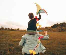 Father and son kite