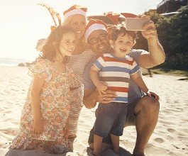 Christmas family on the beach