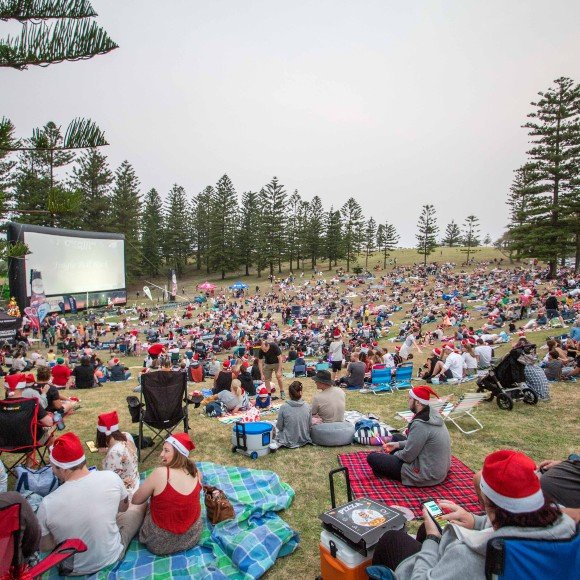 Audience at christmas under the stars
