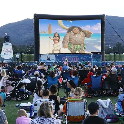 Moana on screen at a Cinema Under the Stars