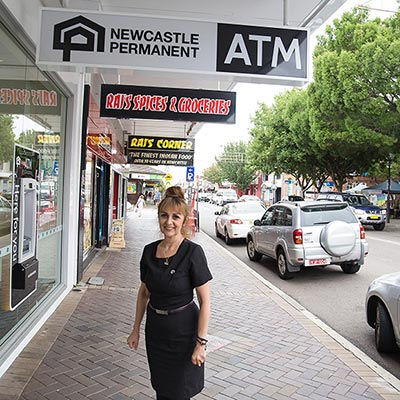 Newcastle Permanent staff member Jenni Papanicolaou outside our branch on Beaumont Street