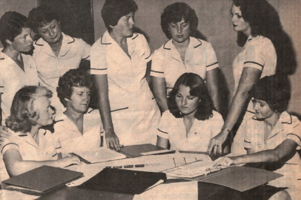 Black and white newspaper clipping showing Newcastle Permanent Female Managers in 1977